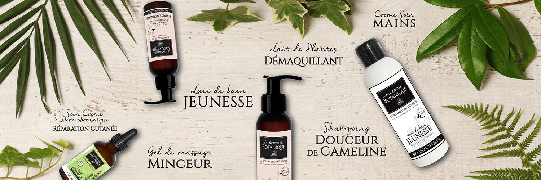 Sélection de produit La Nouvelle Botanique. Lait de bain, lait de plantes, Crème soin, Shampoing, Gel de massage...