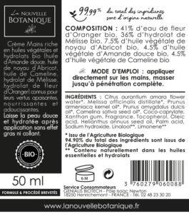 La-Nouvelle-Botanique_Hydrolatherapie_Cosmetique-Bio_Creme-Mains_huile-végétale-noyau-abricot-amande-douce-cameline-melisse