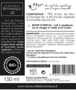 La-Nouvelle-Botanique_Hydrolatherapie_Cosmetique-Bio_Lait-de-plantes-DEMAQUILLANT_huile-végétale-amande-douce-eau-de-fleur-doranger-bio